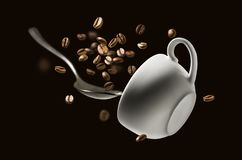 Coffee beans spoon and Cup in flight.  royalty free stock photos