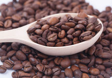 Coffee beans in the spoon Royalty Free Stock Photography
