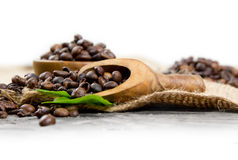 Coffee Beans with Spoon Royalty Free Stock Photos