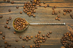 Coffee beans with spoon. Roasted coffee in the spoon. Top view. Selective focus Stock Images