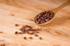 Coffee beans. Coffee spoon on wooden background Stock Images