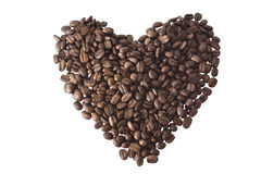 Coffee beans stacked in the form of heart Royalty Free Stock Image