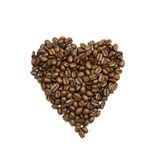 Coffee beans are stacked in the shape of heart Stock Photography
