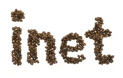 Coffee beans stacked to form the word inet Royalty Free Stock Photography