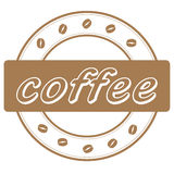 Coffee beans stamp Royalty Free Stock Photography