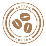 Coffee beans stamp Royalty Free Stock Photo