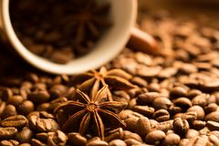 Coffee beans with star anise in brown cup. Close-up royalty free stock photos
