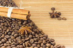 Coffee beans , star anise and cinnamon. Roasted coffee bean background close up. Royalty Free Stock Images