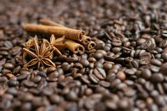 Coffee beans, star anise and cinnamon sticks. Close up stock image