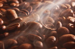 Coffee beans with steam Royalty Free Stock Images