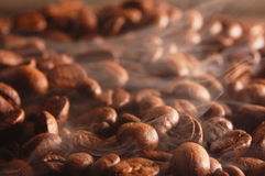 Coffee beans with steam Stock Photo