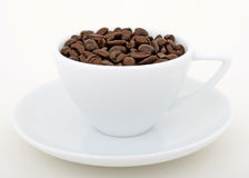 Coffee beans - Stimulant drug for home and office. Cup of coffee beans, isolated on white, macro closeup, close-up with copy space Royalty Free Stock Photos