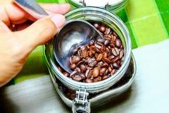 Coffee beans storage Stock Photos