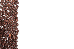 Coffee beans stripe isolated on white background Royalty Free Stock Images