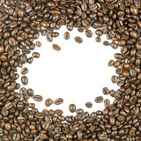 Coffee beans stripes isolated in white background Royalty Free Stock Image