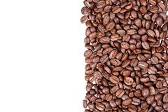 Coffee beans stripes isolated in white background. Stock Photos