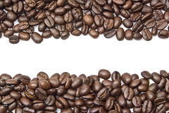 Coffee beans stripes isolated in white background, with copyspac Royalty Free Stock Images