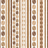 Coffee beans and stripes seamless vector pattern royalty free stock photo