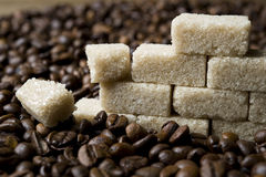 Coffee beans and sugar Royalty Free Stock Images