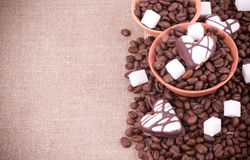 Coffee beans with sugar Royalty Free Stock Photo