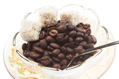 Coffee beans with sugar Royalty Free Stock Images