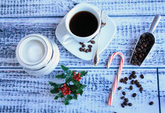 Coffee and beans sugar and candy cane with shovel top Stock Photography