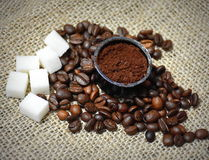 Coffee beans. And sugar - close upn Stock Photography