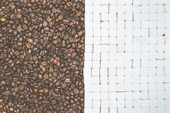 Coffee beans and sugar cubes background, top view Stock Photos