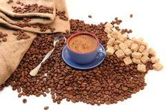 Coffee beans, sugar and cup Royalty Free Stock Image