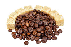 Coffee beans and sugar Royalty Free Stock Photography
