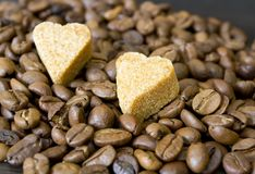 Coffee Beans, Sugar Hearts Royalty Free Stock Photo