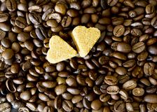 Coffee beans, sugar hearts Stock Photo