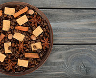 Coffee beans, sugar and spices Royalty Free Stock Photos