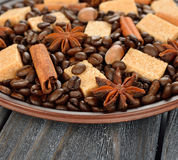 Coffee beans, sugar and spices Royalty Free Stock Image
