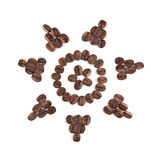 Coffee beans sun clipart. Sun clipart made with coffee beans for creative projects, frames and design, isolated on white Royalty Free Stock Images