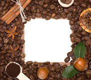 Coffee beans and sweetnesses Stock Images
