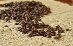 Coffee beans on a table Royalty Free Stock Image