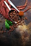 Coffee beans. On a table, stock photo royalty free stock photos