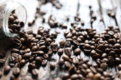 Coffee beans on the table Stock Images