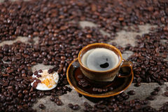 Coffee beans and tangerine. Coffee beans in a coffee cup and some tangerines Stock Photography