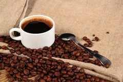 Coffee beans and teaspoon of ground coffee with a cup of coffee. Coffee beans and teaspoon of ground coffee with a cup of fragrant hot coffee Stock Photo