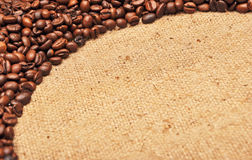Coffee beans on textile Royalty Free Stock Photography
