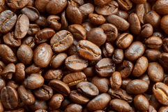 Coffee beans texture 2. Textured background: brown roasted coffee beans macro closeup Stock Image