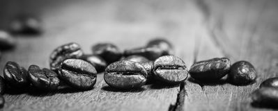 Coffee Beans  texture  on black and white on the wood background. Selective focus Stock Images