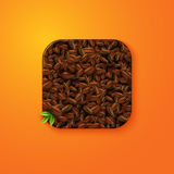 Coffee beans texture icon stylized like mobile app. Vector illus Stock Image