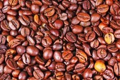 Coffee beans coffee texture pattern closeup as background. Royalty Free Stock Photos
