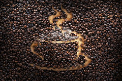 Coffee beans, texture, roasted coffee beans, cup of coffee Royalty Free Stock Photo