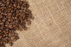 Coffee beans on textured background, selective focus Royalty Free Stock Photography