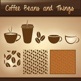 Coffee Beans and Things. Useful set of coffee icons including 4 cup styles, beans, and a repeating beans pattern royalty free illustration
