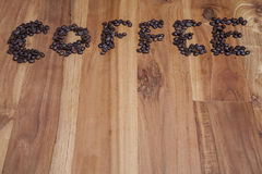Coffee beans, top view copy space Royalty Free Stock Images
